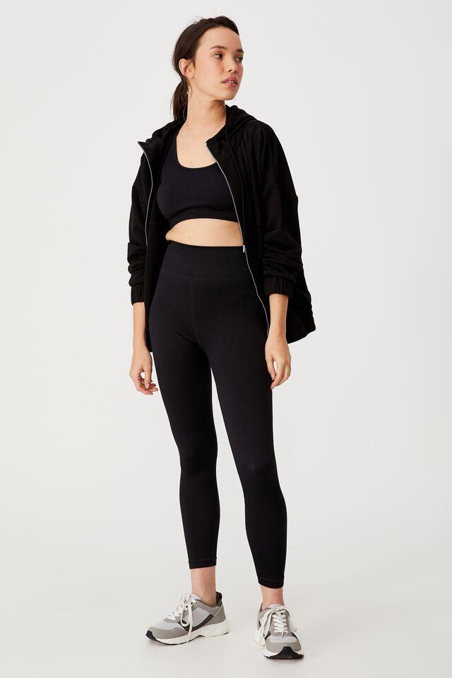 Panelled Zip Through Hoodie, BLACK