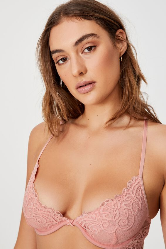 Ainsley Lace Plunge Underwire Bra, CANDY FLOSS