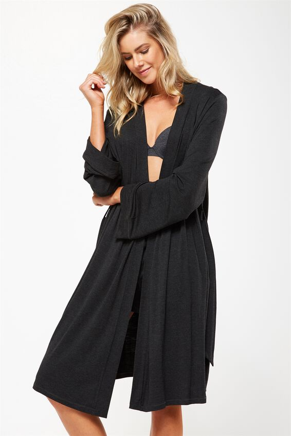 Sleep Recovery Wrap Gown, BLACK MARLE