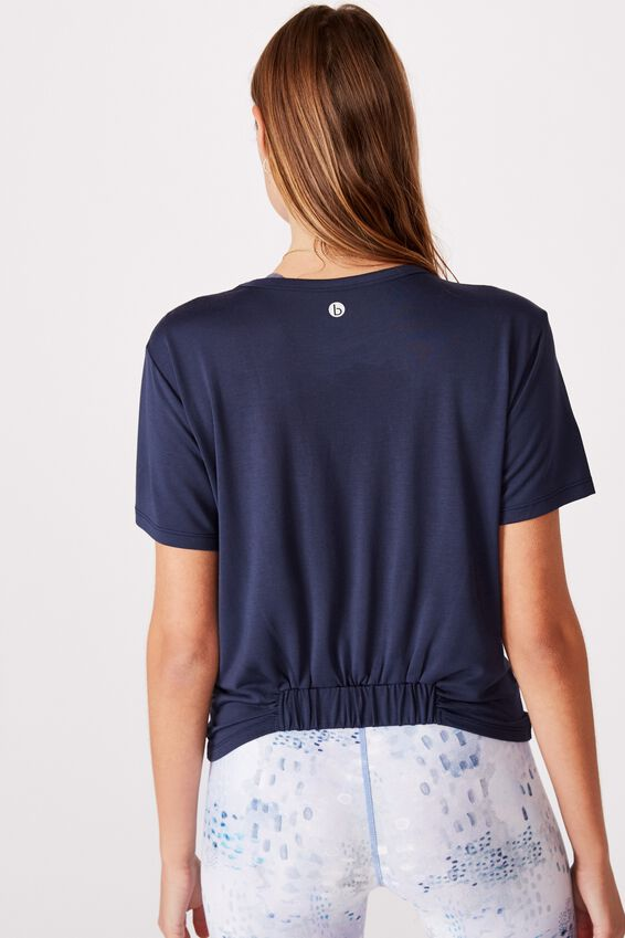 Elastic Back Twist Front Tee, NAVY