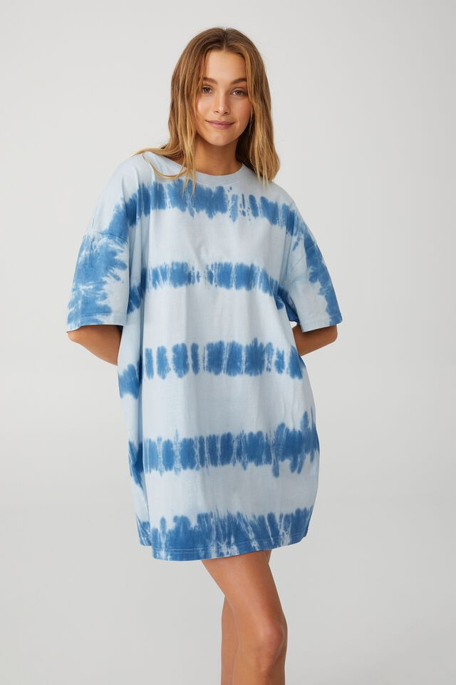 Organic Cotton 90S T-Shirt Nightie, Stripe Tie Dye