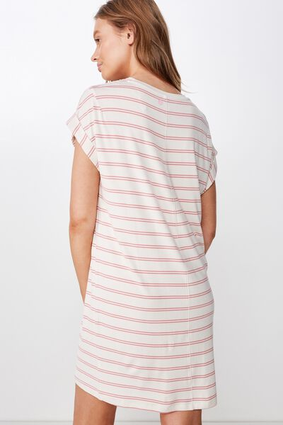 Sleep Recovery Cap Sleeve Nightie, SLEEPY STRIPE/ PINK GLOW