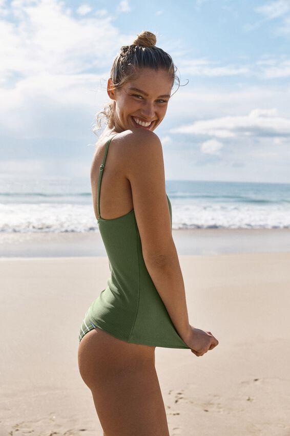 Refined Strap Tankini Swim Top, COOL AVOCADO RIB
