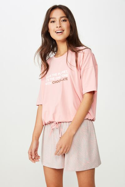 Jersey Tie T Shirt, CANDY PINK/SAVE THE PLANET