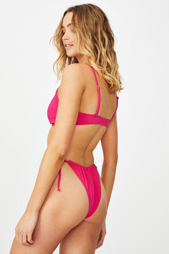 Gathered Tie Brazilian Bikini Bottom, FUCHSIA PINK