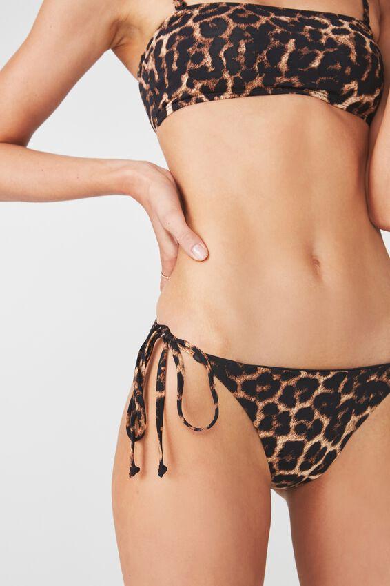 Tie Side Cheeky Bikini Bottom, LEOPARD