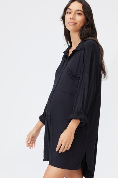 Sleep Recovery Maternity Night Shirt, BLACK