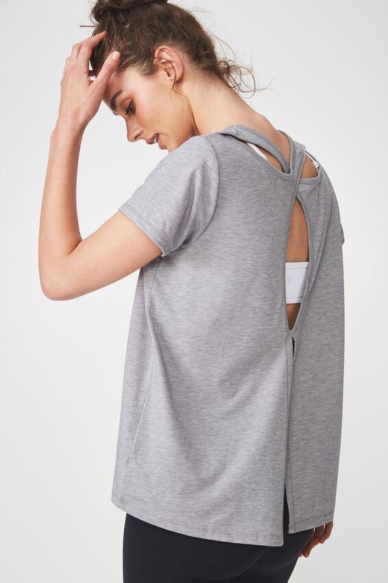 Split Back Hi-Low T Shirt, MID GREY MARLE