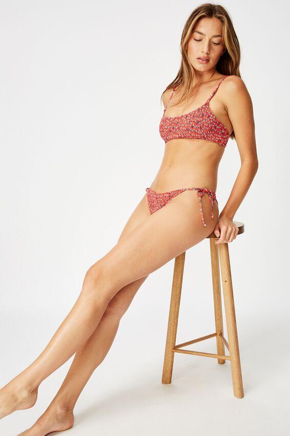 Tie Side Cheeky Bikini Bottom, RED DITSY SHIRRED