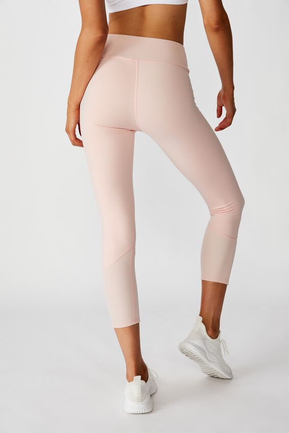 Rib Cross Over 7/8 Tight, SOFT CAMEO PINK MARLE