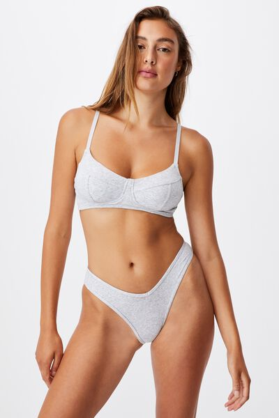 Organic Cotton Bralette With Cups, GREY MARLE RIB