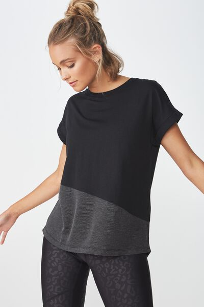 Spliced Mesh T Shirt, BLACK/CHARCOAL