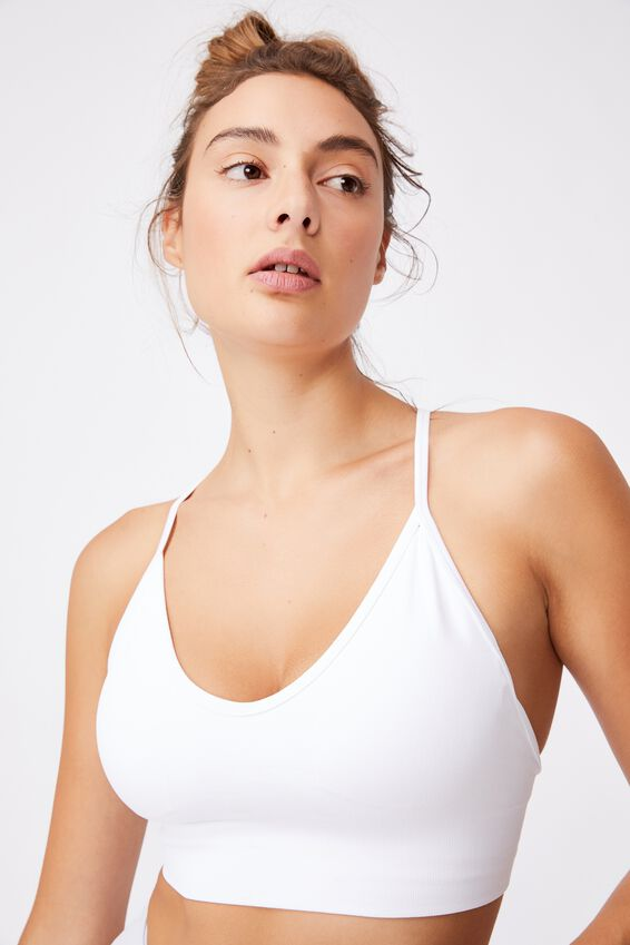 Lifestyle Seamless V-Neck Crop, WHITE