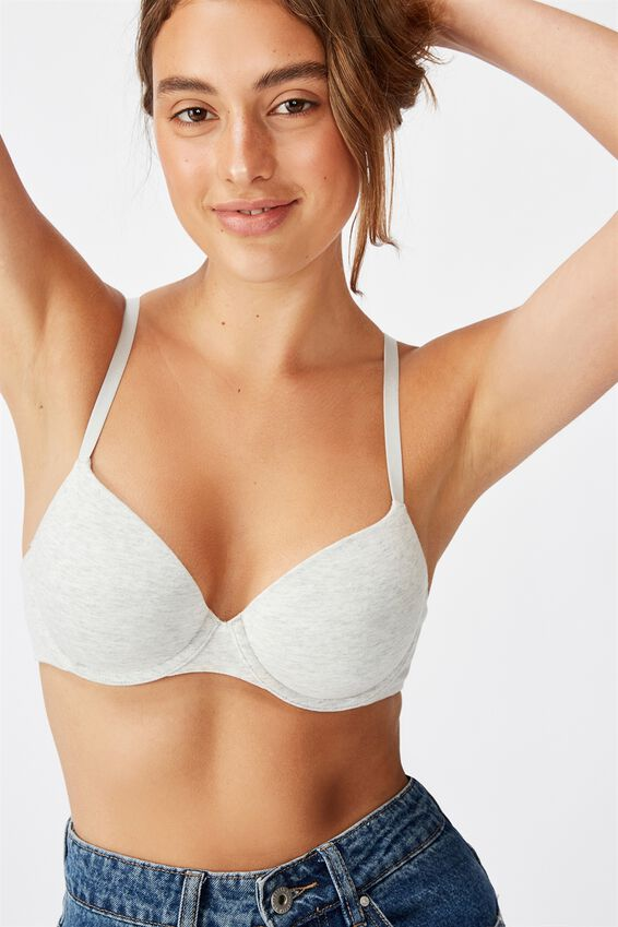 Ultimate Comfort Cotton T-Shirt Bra, LIGHT GREY MARLE