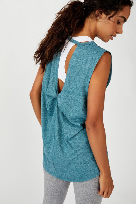 Twist Back Muscle Tank Top, MINERAL TEAL MARLE