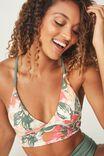 Tessa Reversible Longline Triangle Bikini Top, FERN GREEN TROPICAL JUNGLE