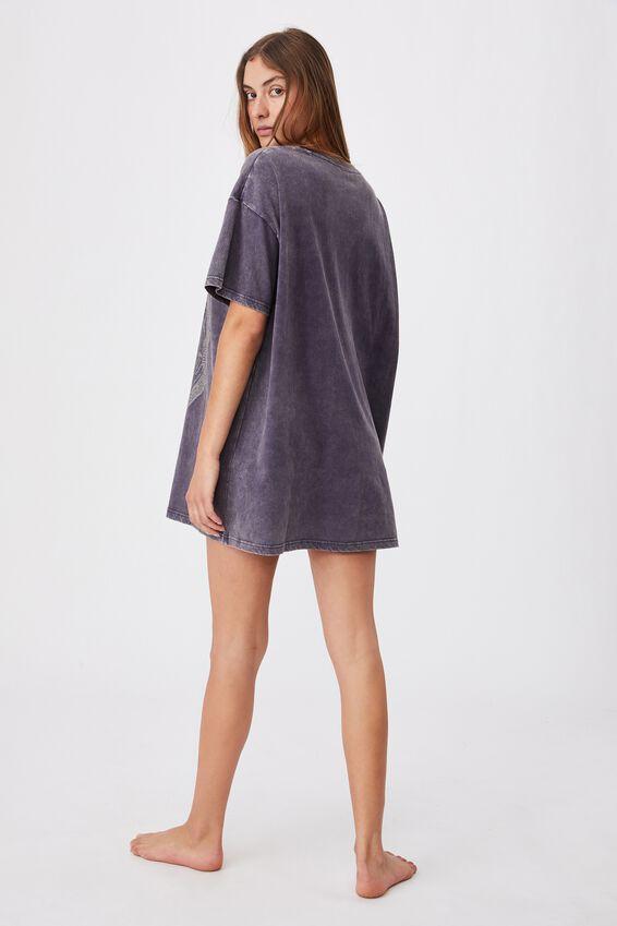 90 S Tshirt Nightie, LCN LN VINTAGE BLACK/NIRVANA SPIRAL