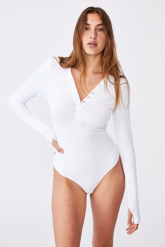 Open Back Bodysuit, WHITE
