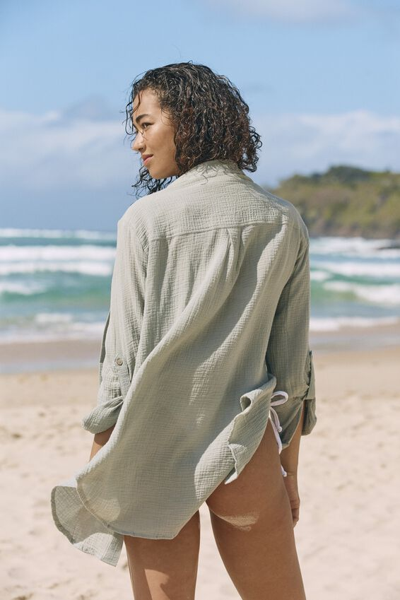 Oversized Beach Shirt, KHAKI