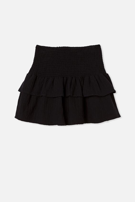 Shirred Beach Skirt, BLACK