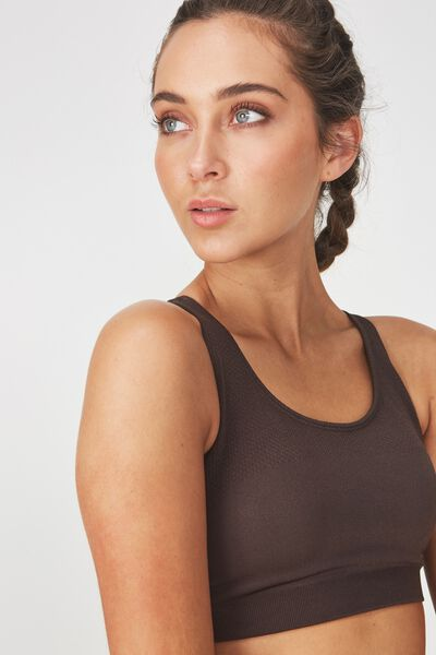 Seamfree Cross Back Sports Crop, SMOKEY BRONZE
