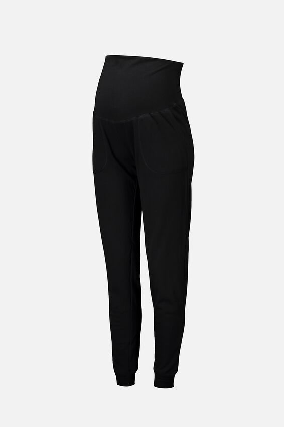 Maternity Gym Trackie, BLACK
