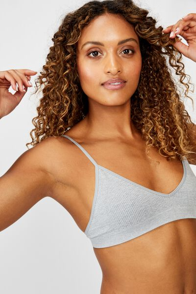 Seamfree Triangle Bralette, LT GREY MARLE
