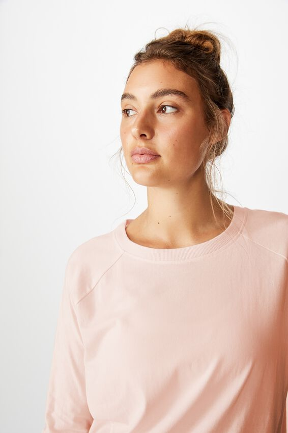 Active Rib Long Sleeve Top, PINK SHERBET
