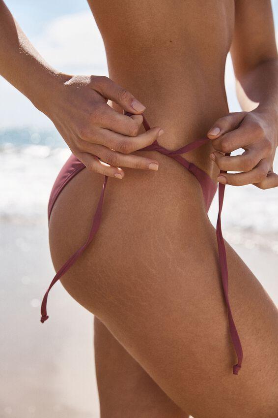 Tie Side Cheeky Bikini Bottom, ROSE SANGRIA