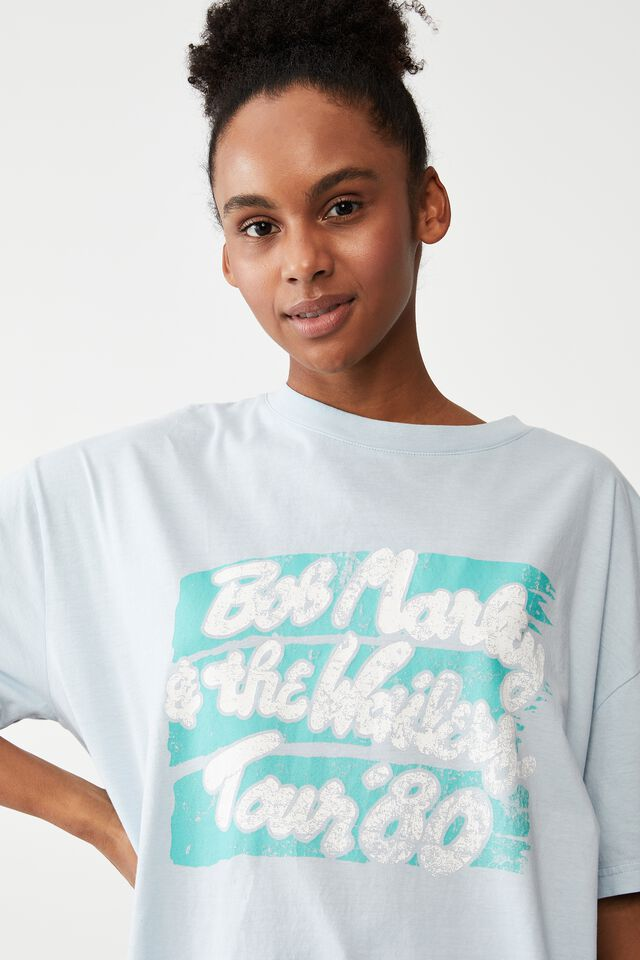 Organic Cotton 90S T-Shirt Nightie, LCN BR BOB MARLEY/TOUR 80 BLOOM