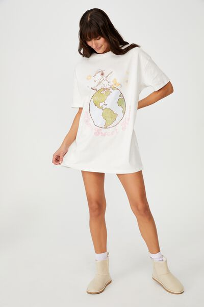 Organic Cotton 90S T-Shirt Nightie, LCN PEA SNOOPY HOME SWEET HOME