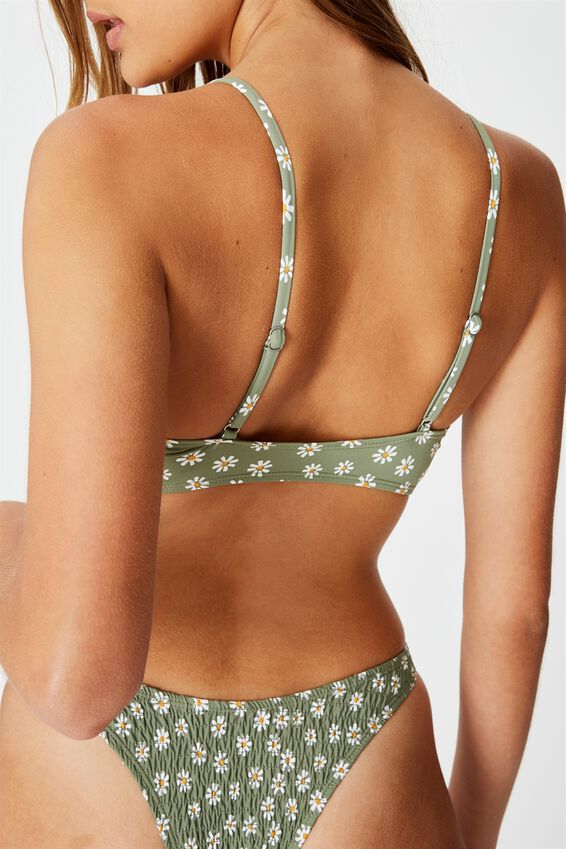 Scoop Crop Bralette Bikini Top, COOL AVOCADO DAISY SHIRRED