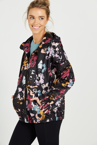 Printed Wind Breaker Jacket, FLORAL POP