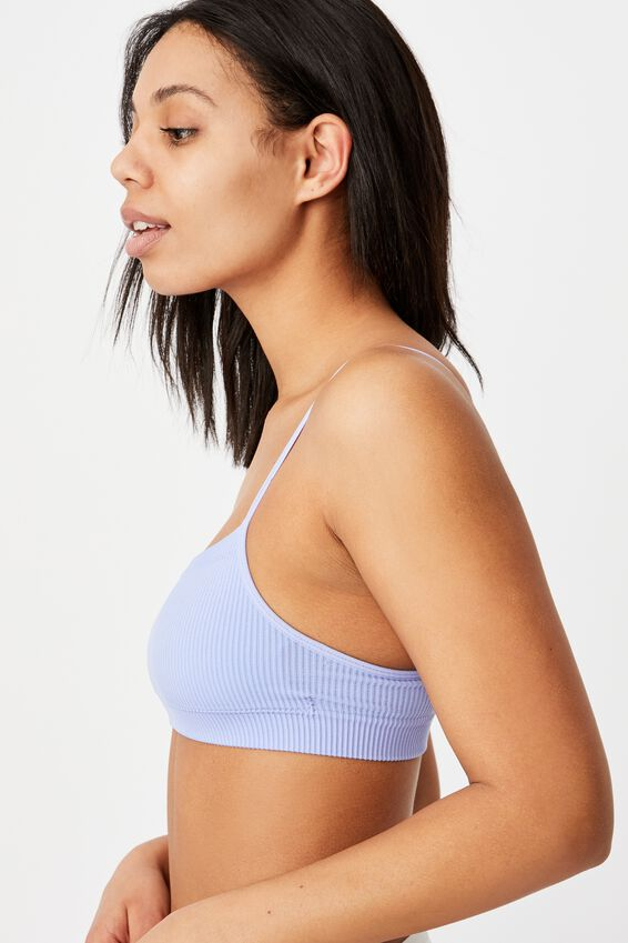 Seamfree Straight Neck Crop With Cups, CORNFLOWER LILAC