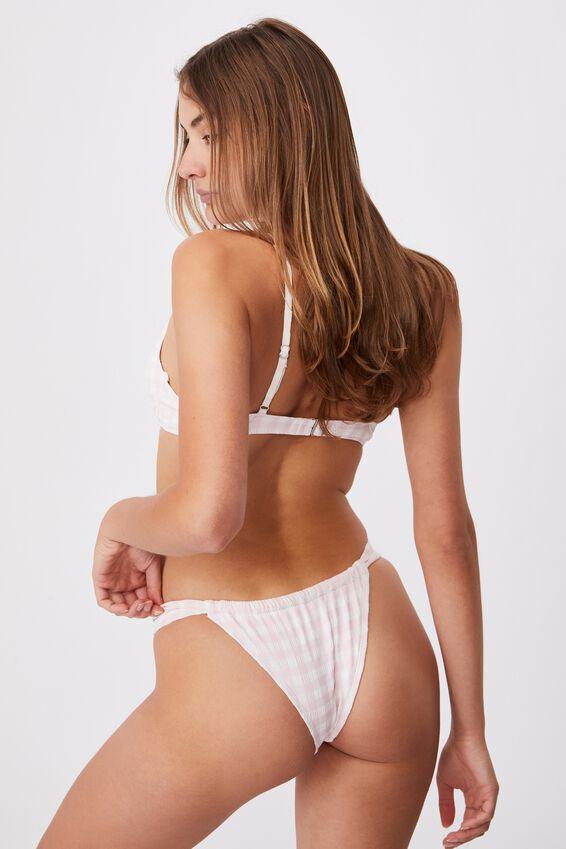 Gathered Tie Brazilian Bikini Bottom, PALE PINK GINGHAM