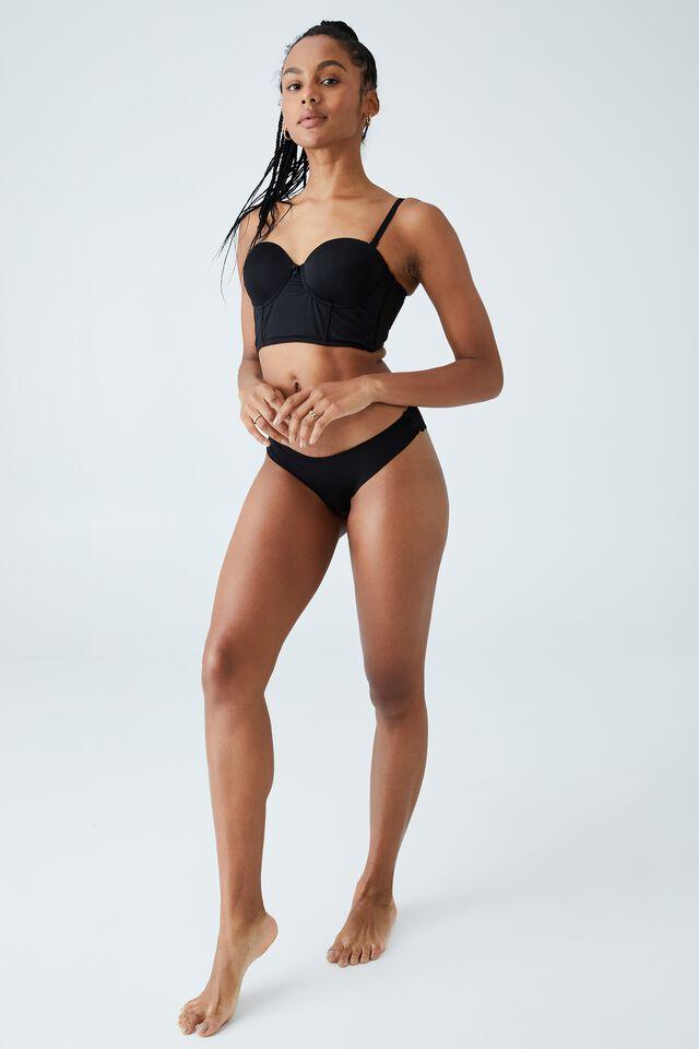 Ultimate Comfort Lace Brasiliano Brief, BLACK