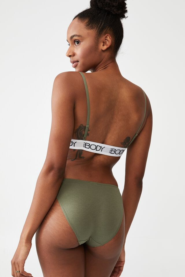 Body Organic Cotton Tanga Bikini Brief, GARDEN SAGE