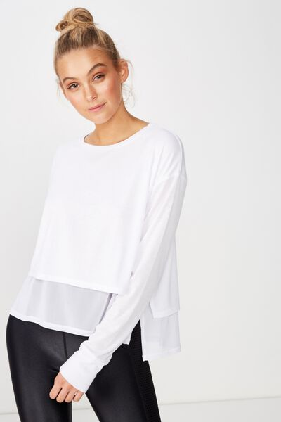 Layered Long Sleeve Top, WHITE