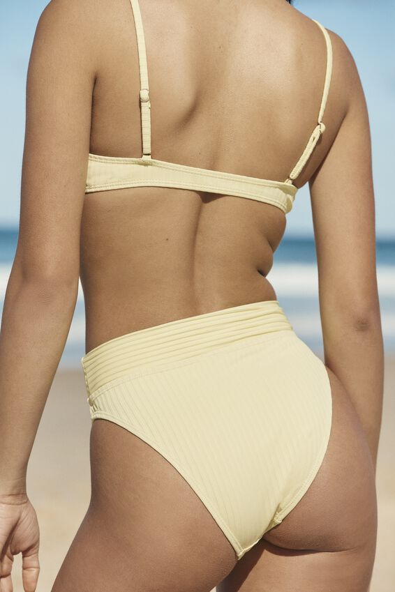 Highwaisted Cheeky Bikini Bottom, LEMON ZEST RIB