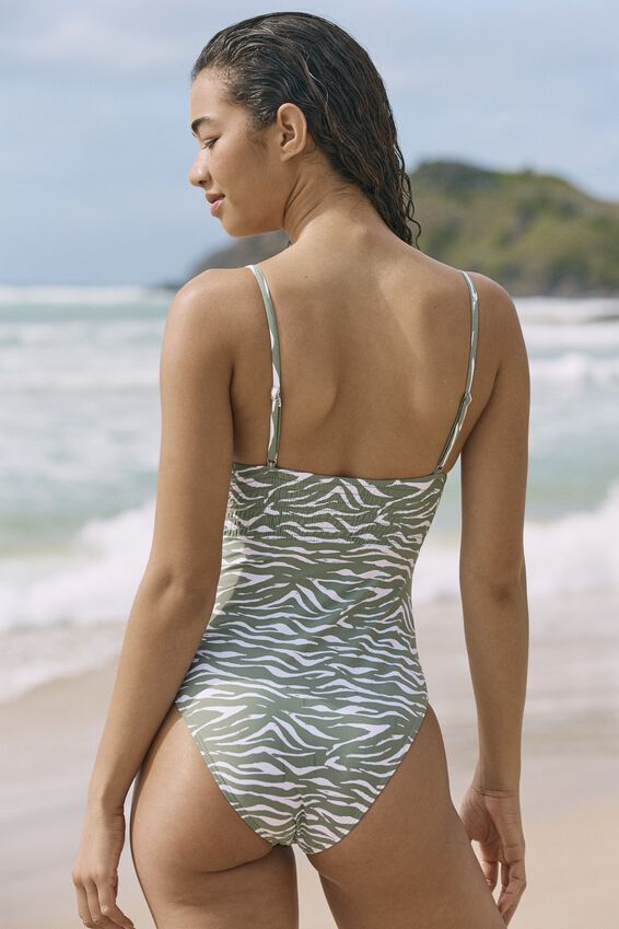 Shirred Scoop Neck One Piece Cheeky, KHAKI ZEBRA