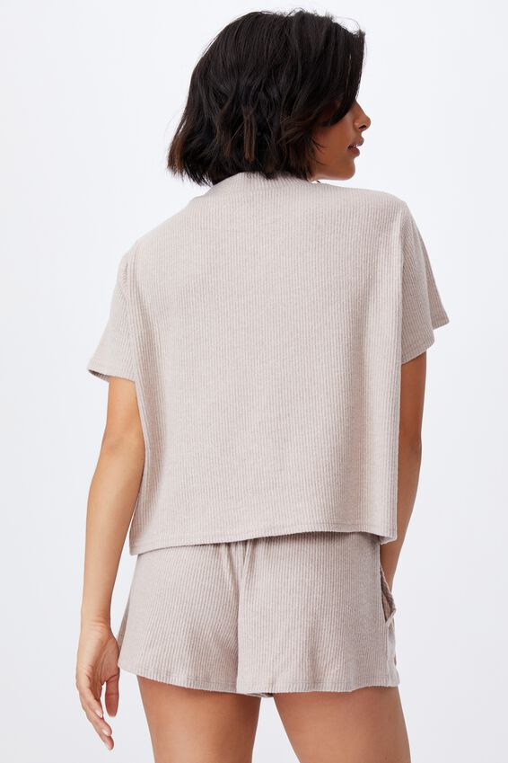 Super Soft Lounge T-Shirt, MUSHROOM MARLE RIB