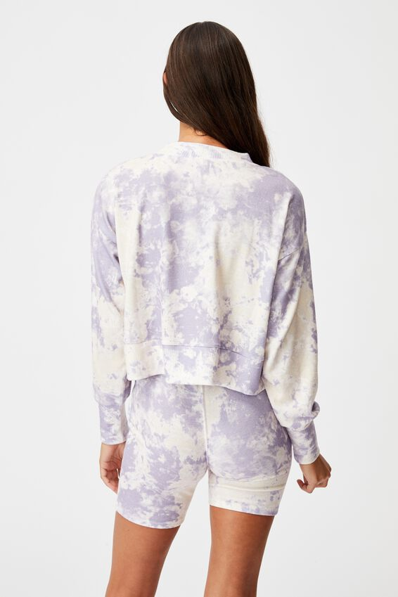 Super Soft Long Sleeve Crew, LILAC MARBLE TIE DYE