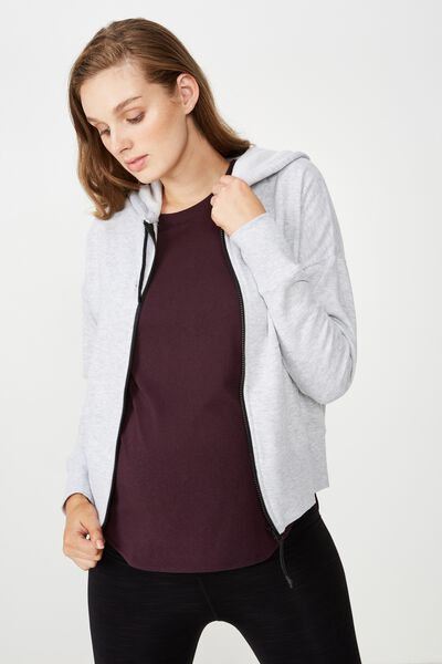 Maternity Zippy Active Hoodie, GREY MARLE/BLACK