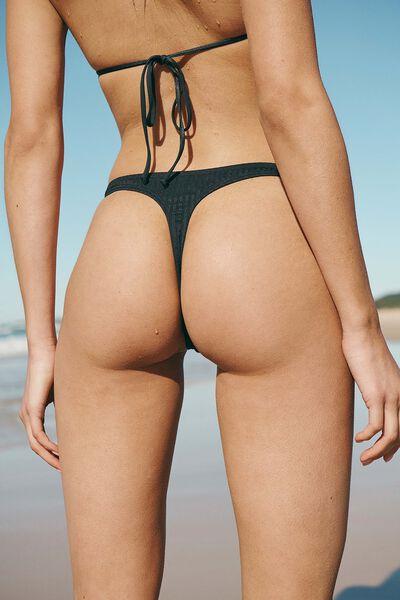 High Side Thong Bikini Bottom, BLACK RIB 21
