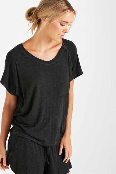 Premium Sleep Raglan Tshirt, BLACK MARLE