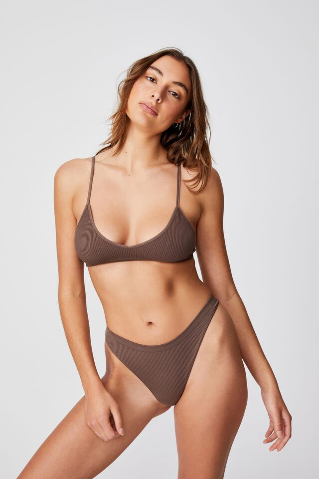 Seamless Triangle Bralette, DEEP TAUPE