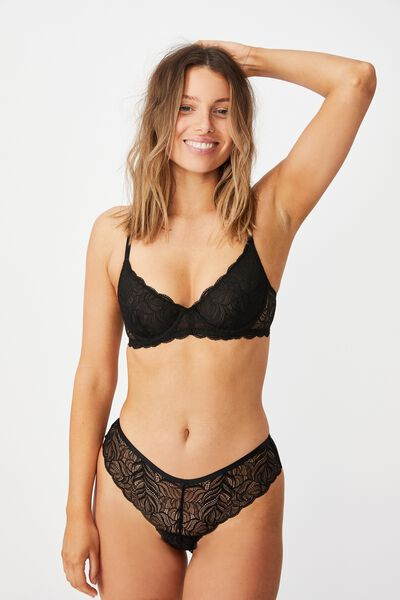 Summer Lace Brasiliano Brief, BLACK
