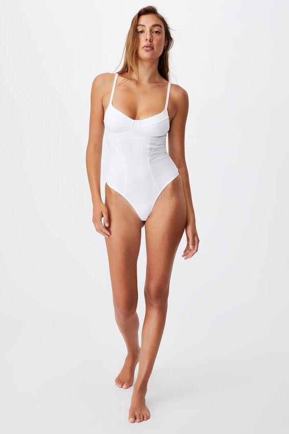 Organic Cotton Bodysuit, WHITE