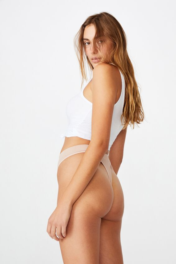 Seamless High Cut Thong Brief, NEW LATTE