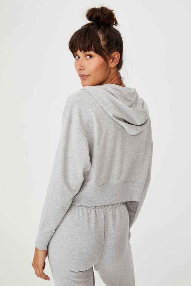 The Ultra Soft Zip Through Hoodie, GREY MARLE